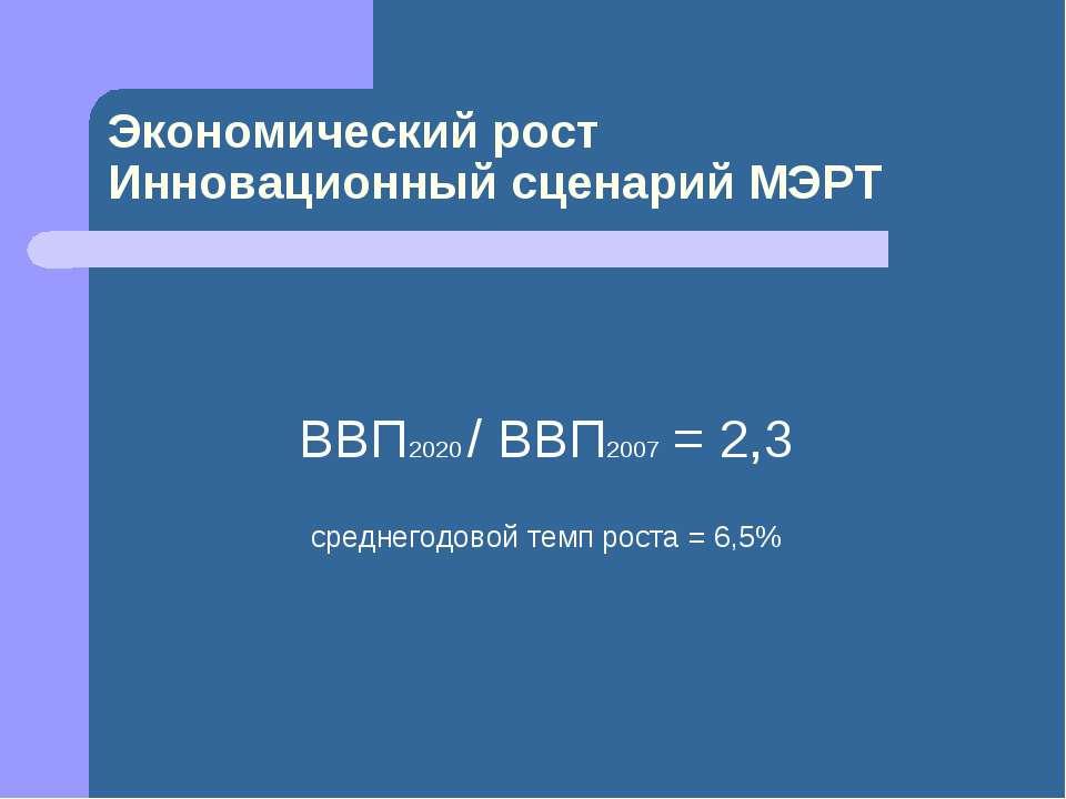 ВВП2020 / ВВП2007 = 2,3 среднегодовой темп роста = 6,5% Экономический рост Ин...