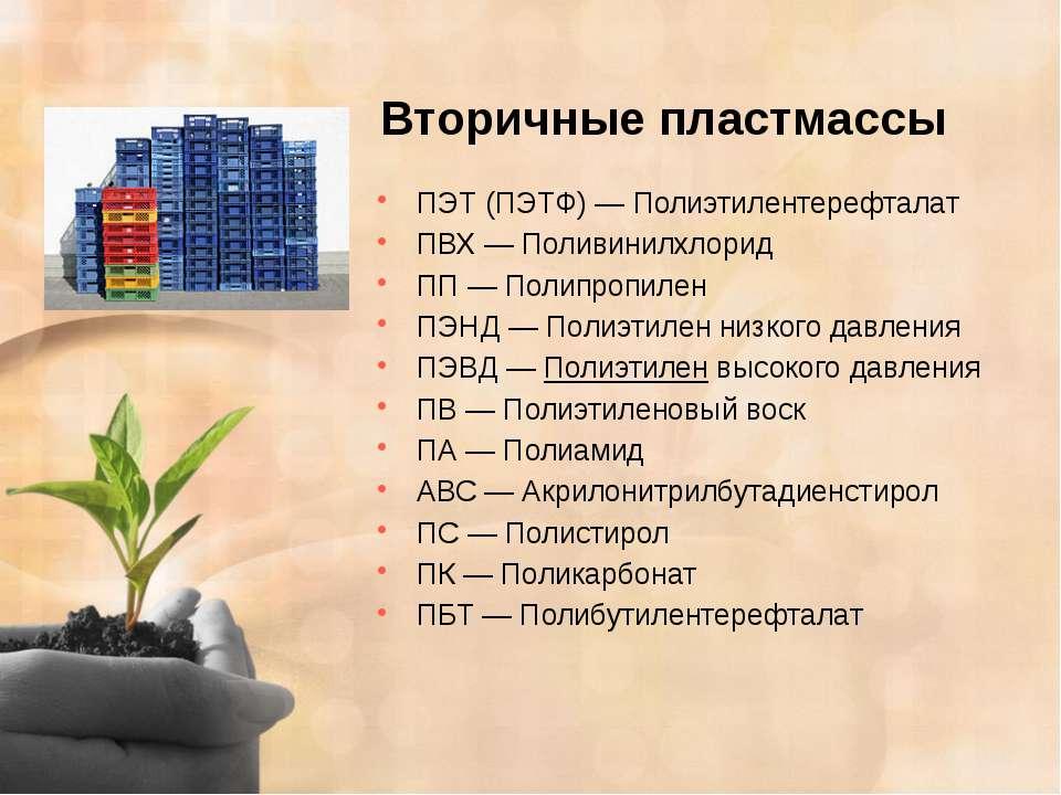 Вторичные пластмассы ПЭТ (ПЭТФ)—Полиэтилентерефталат ПВХ—Поливинилхлорид ...