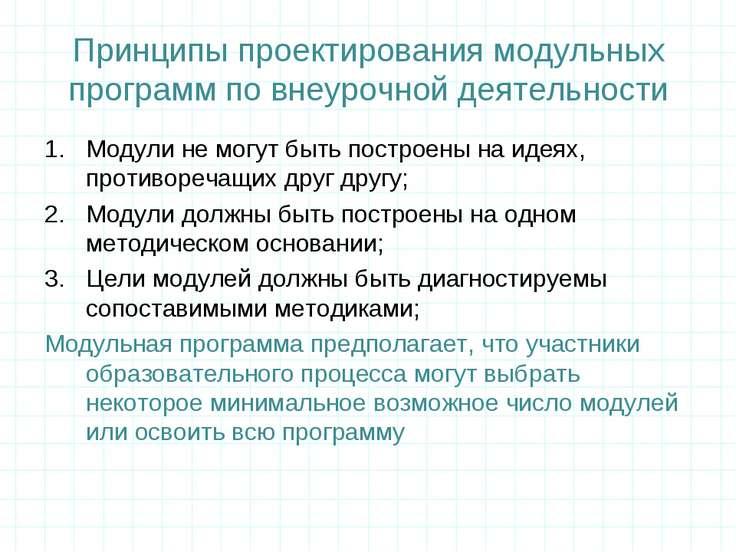 Принципы проектирования модульных программ по внеурочной деятельности Модули ...
