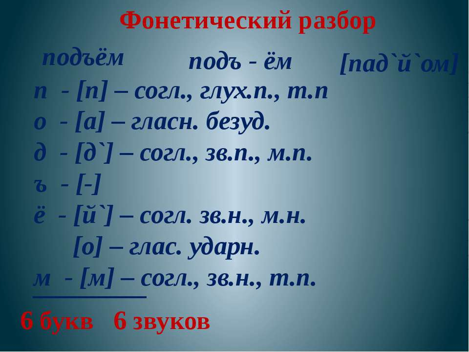 Фонетический разбор подъём подъ - ём п - [п] – согл., глух.п., т.п о - [а] – ...