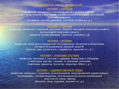 5 основных типов профессий: человек – природа профессии, связанные с с изучен...