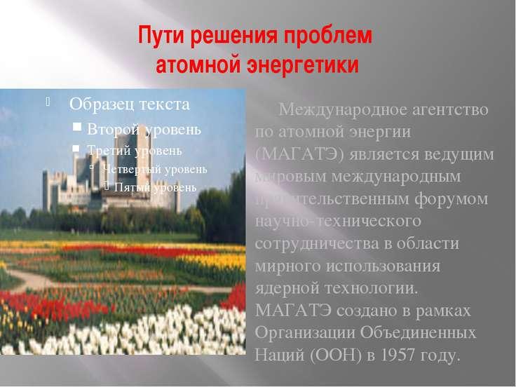 Пути решения проблем атомной энергетики Международное агентство по атомной эн...