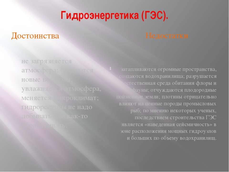 Гидроэнергетика (ГЭС). Достоинства Недостатки не загрязняется атмосфера; созд...