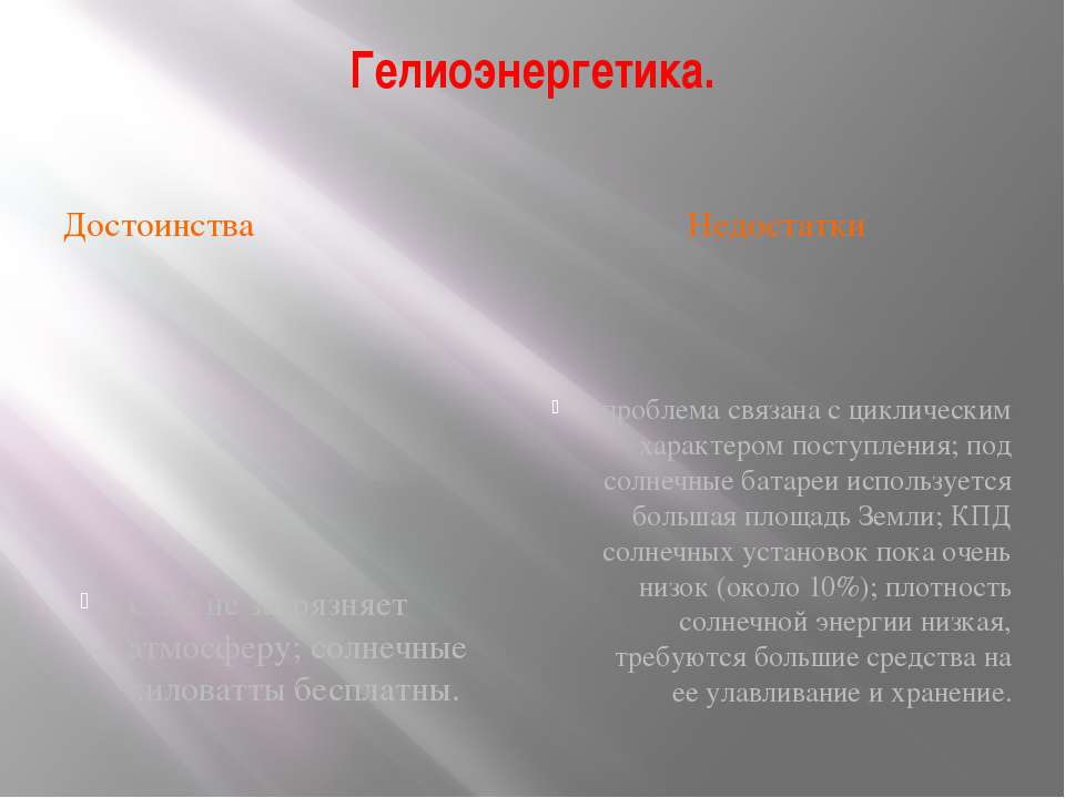 Гелиоэнергетика. Достоинства Недостатки СЭС не загрязняет атмосферу; солнечны...
