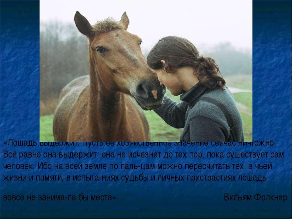 «Лошадь выдержит. Пусть её хозяйственное значение сейчас ничтожно. Всё равно ...