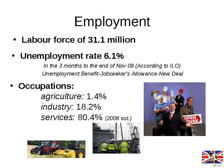 Employment Labour force of 31.1 million