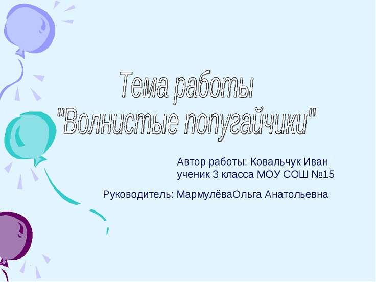 Автор работы: Ковальчук Иван ученик 3 класса МОУ СОШ №15 Руководитель: Мармул...