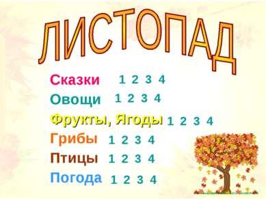 Сказки Овощи Фрукты, Ягоды Грибы Птицы Погода 1 2 3 4 1 2 3 4 1 2 3 4 1 2 3 4...