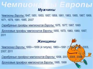 Женщины Чемпионки Европы: 1950—1956 (4 титула), 1960—1991 (17 титулов), 2003,...