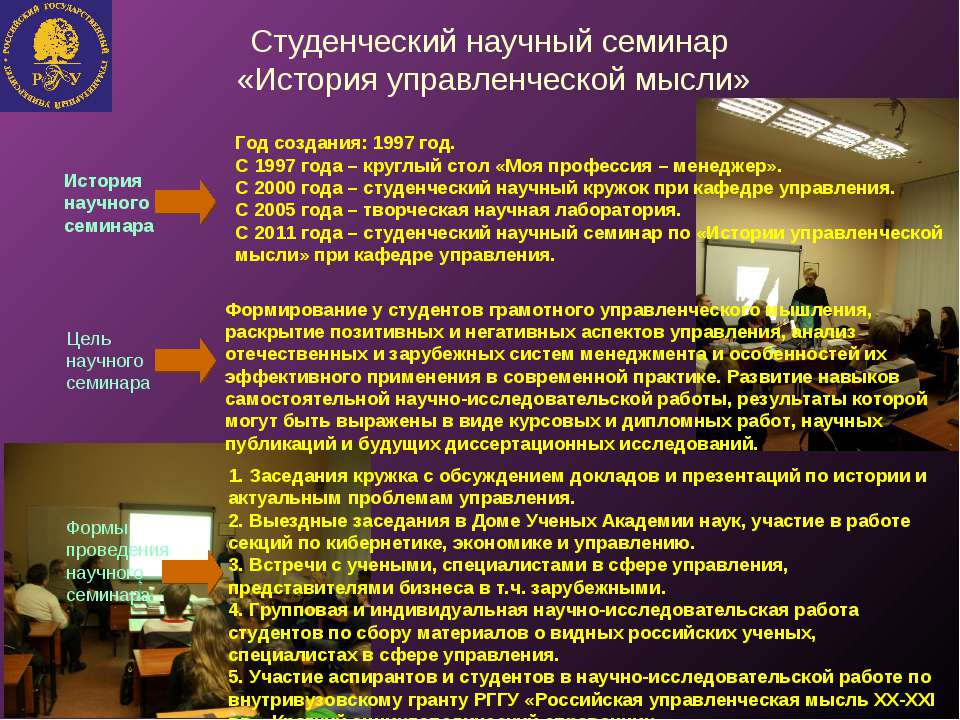 Студенческий научный семинар «История управленческой мысли» История научного ...