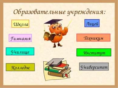 Образовательные учреждения: