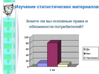 Изучение статистических материалов Знаете ли вы основные права и обязанности ...
