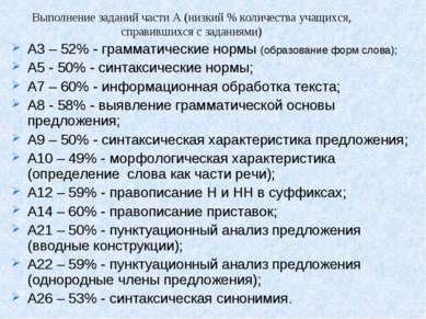 А3 – 52% - грамматические нормы (образование форм слова); А5 - 50% - синтакси...