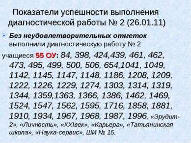 Показатели успешности выполнения диагностической работы № 2 (26.01.11) Без не...