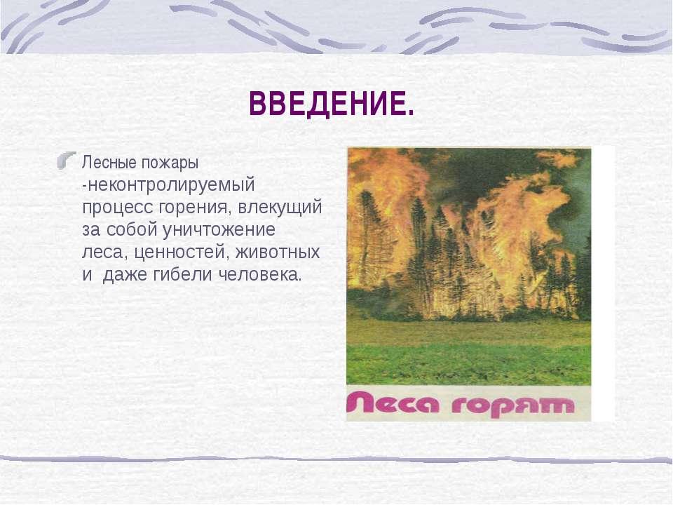 ВВЕДЕНИЕ. Лесные пожары -неконтролируемый процесс горения, влекущий за собой ...