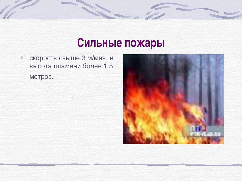Сильные пожары скорость свыше 3 м/мин. и высота пламени более 1.5 метров.