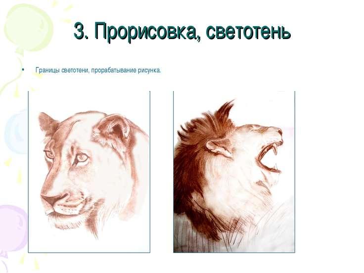 3. Прорисовка, светотень Границы светотени, прорабатывание рисунка.