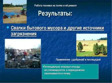 Результаты: Свалки бытового мусора и другие источники загрязнения Потенциальн...
