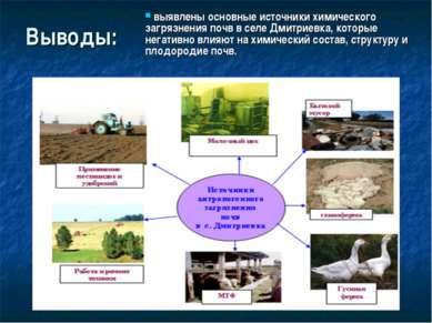 Выводы: выявлены основные источники химического загрязнения почв в селе Дмитр...