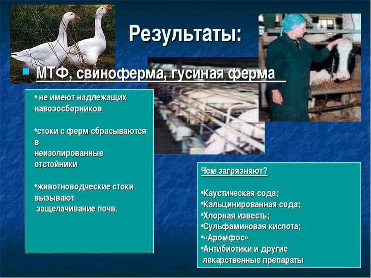 Результаты: МТФ, свиноферма, гусиная ферма не имеют надлежащих навозосборнико...