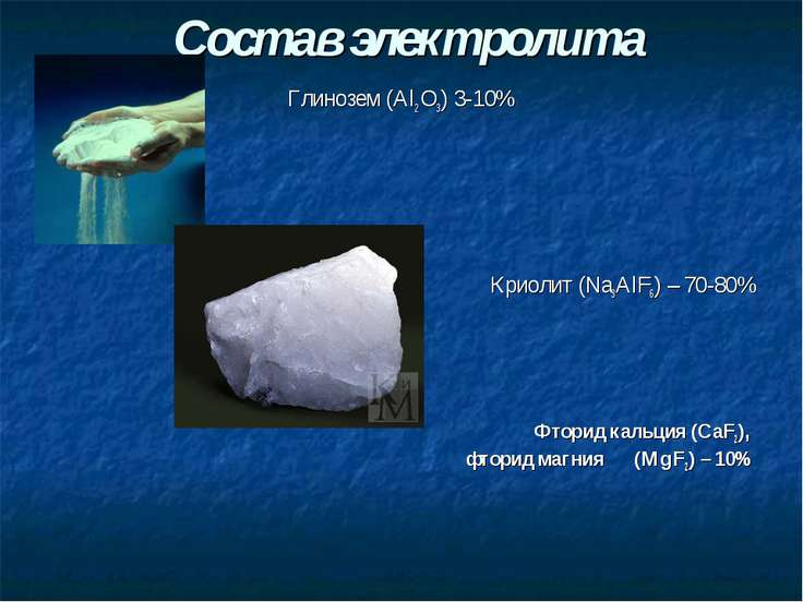 Состав электролита Глинозем (Al2 O3) 3-10% Криолит (Nа3АlF6) – 70-80% Фторид ...