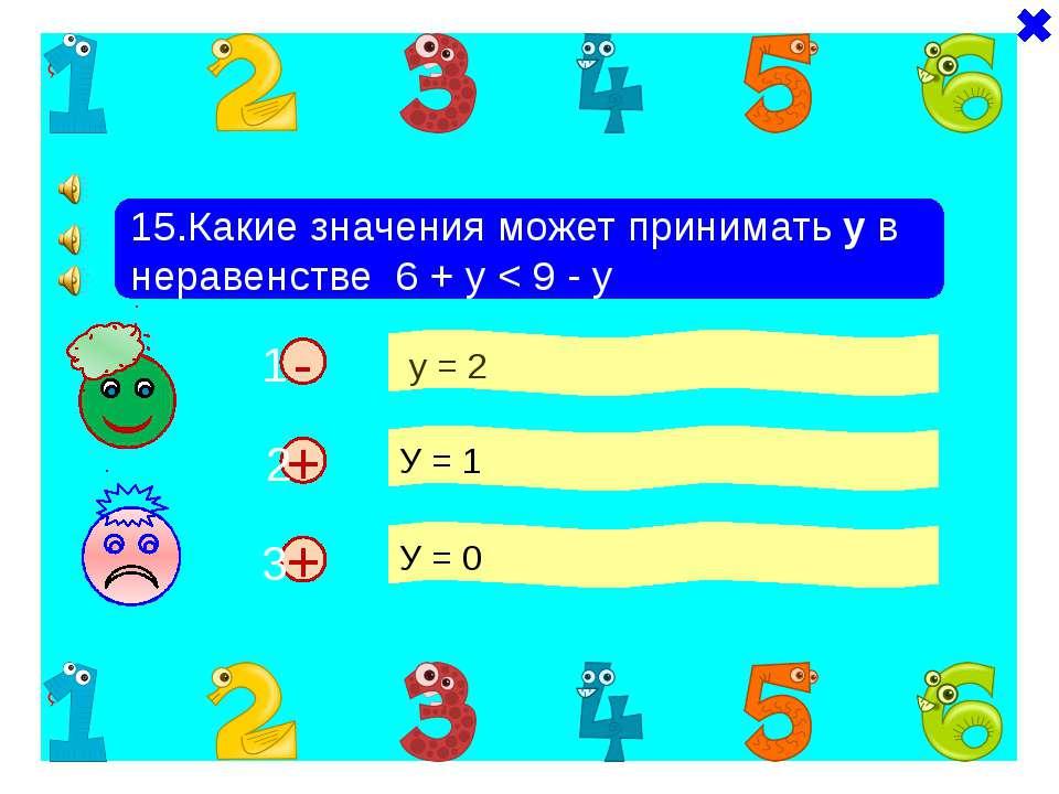 + - 15.Какие значения может принимать у в неравенстве 6 + у < 9 - у у = 2 У =...