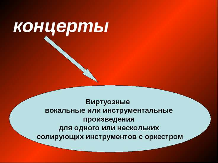 концерты Виртуозные вокальные или инструментальные произведения для одного ил...