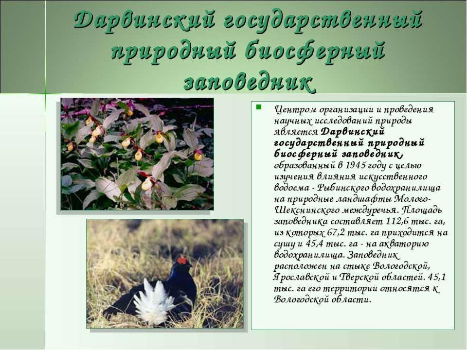 Дарвинский государственный природный биосферный заповедник Центром организаци...