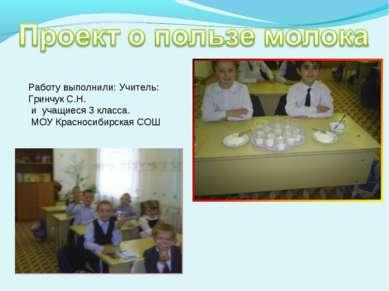 Работу выполнили: Учитель: Гринчук С.Н. и учащиеся 3 класса. МОУ Красносибирс...