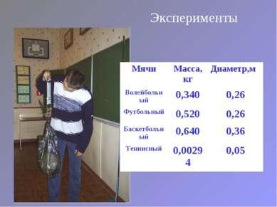 Эксперименты Мячи Масса, кг Диаметр,м Волейбольный 0,340 0,26 Футбольный 0,52...