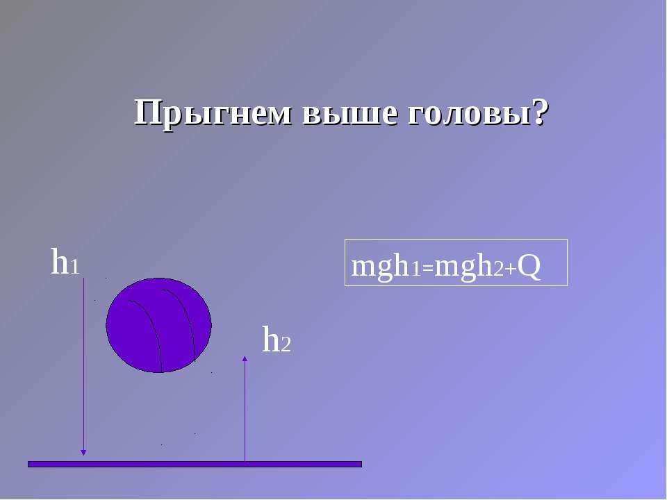 Прыгнем выше головы? h1 h2 mgh1=mgh2+Q