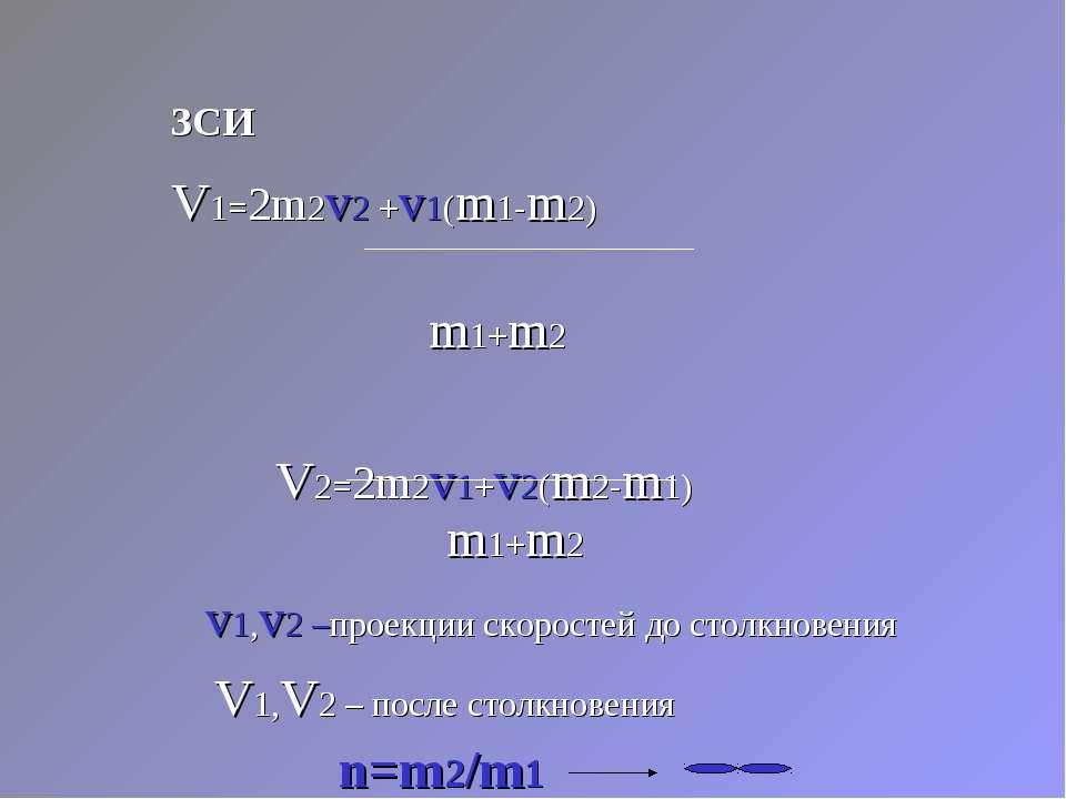 ЗСИ V1=2m2v2 +v1(m1-m2) m1+m2 V2=2m2v1+v2(m2-m1) m1+m2 v1,v2 –проекции скорос...