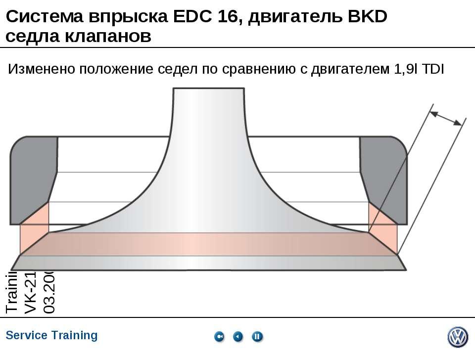 Система впрыска EDC 16, двигатель BKD седла клапанов Изменено положение седел...
