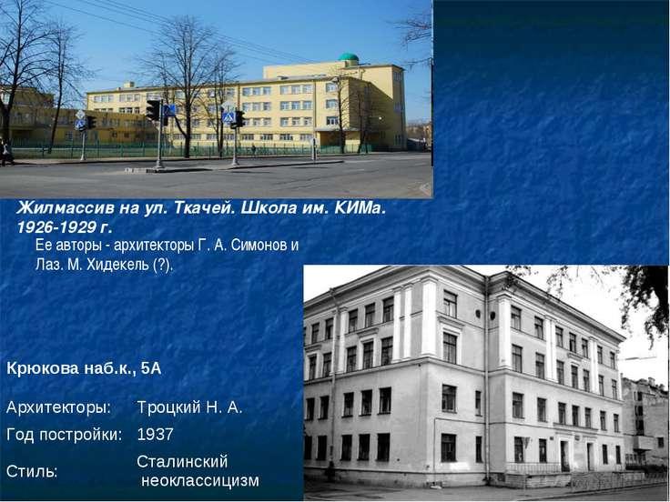 Ее авторы - архитекторы Г. А. Симонов и Лаз. М. Хидекель (?). Жилмассив на ул...
