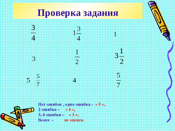 Проверка задания Нет ошибок , одна ошибка - « 5 », 2 ошибка – « 4 », 3, 4 оши...