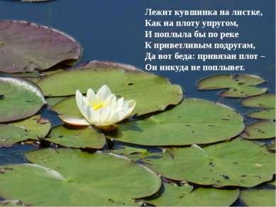 Лежит кувшинка на листке, Как на плоту упругом, И поплыла бы по реке К привет...