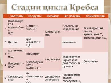 Субстраты Продукты Фермент Тип реакции Комментарий 1 Оксалоацетат + Ацетил-Co...