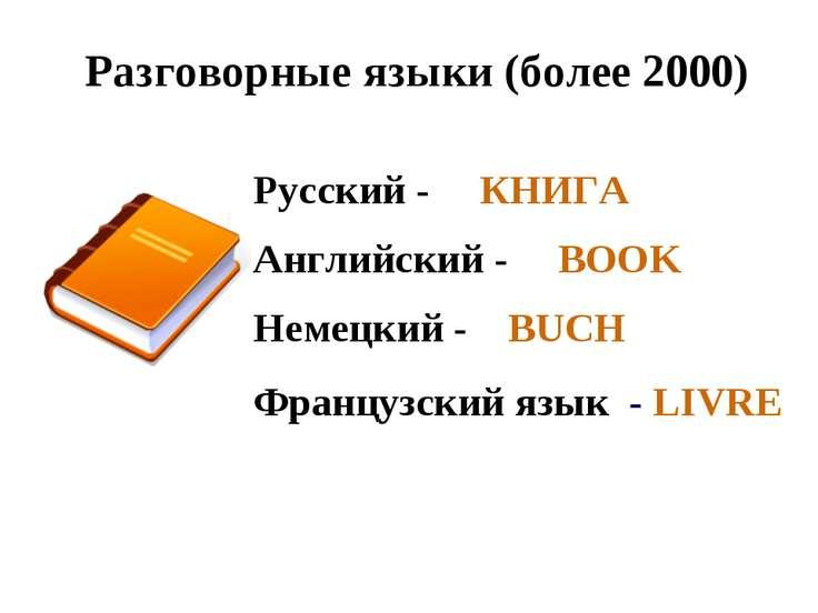 Разговорные языки (более 2000) Русский - КНИГА Английский - BOOK Немецкий - B...
