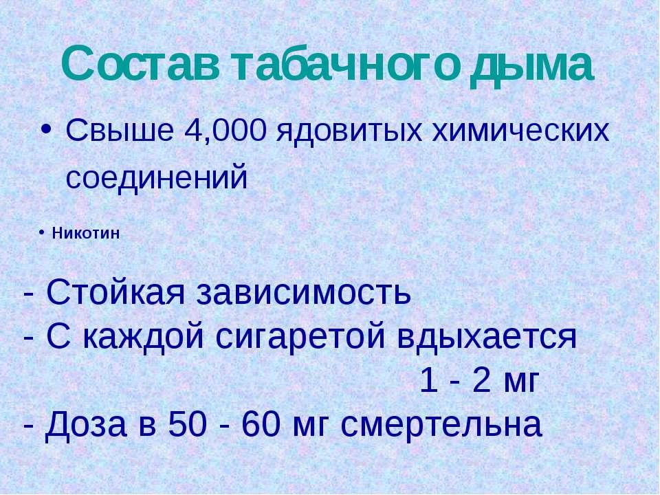 Состав табачного дыма Свыше 4,000 ядовитых химических соединений Никотин - Ст...