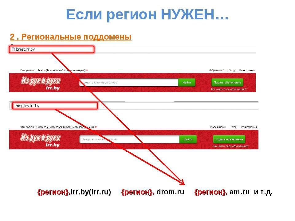Если регион НУЖЕН… 2 . Региональные поддомены {регион}.irr.by(irr.ru) {регион...