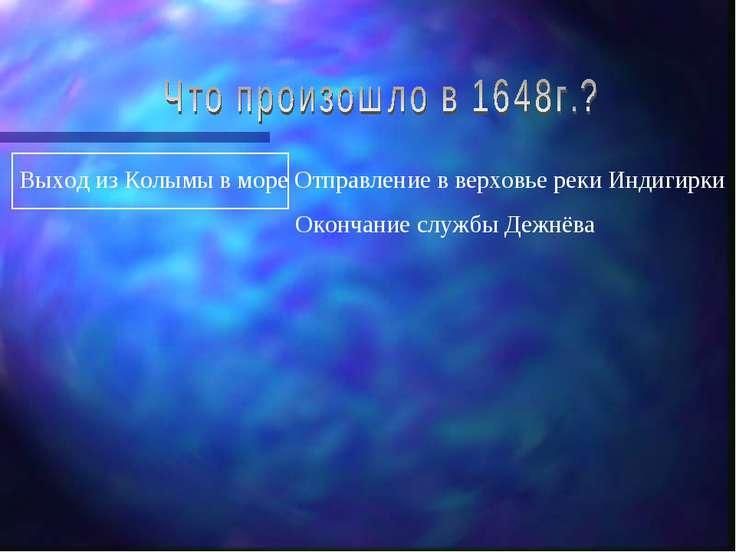 Выход из Колымы в море Отправление в верховье реки Индигирки Окончание службы...