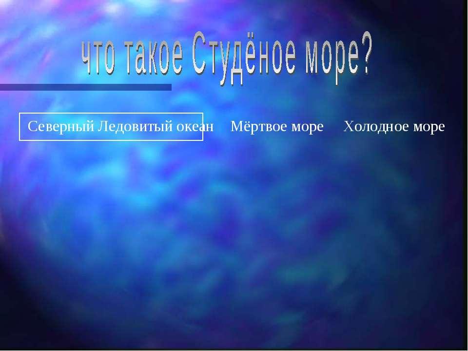 Северный Ледовитый океан Мёртвое море Холодное море