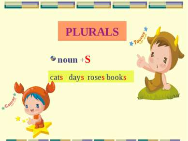 PLURALS noun +S cats days roses books
