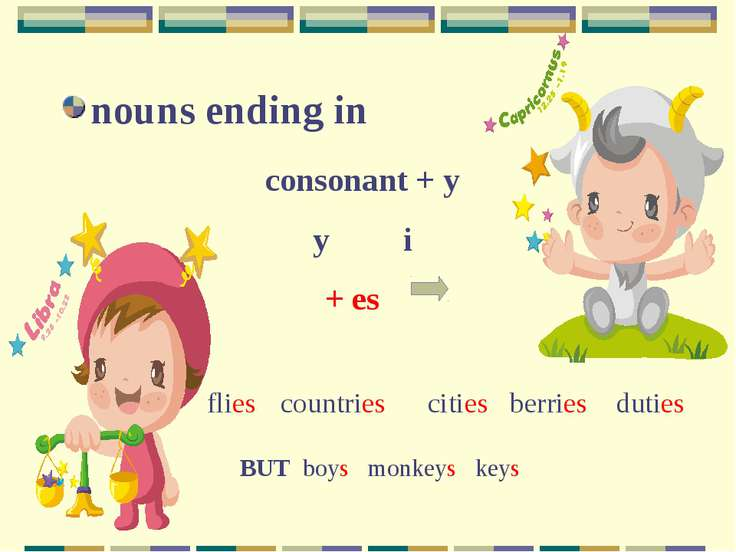 nouns ending in consonant + y y i + es flies countries cities berries duties ...