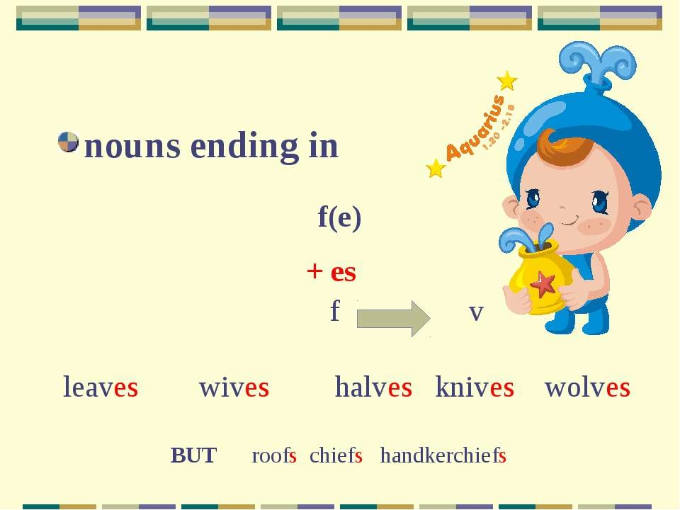 nouns ending in f(e) + es leaves wives halves knives wolves f v BUT roofs chi...