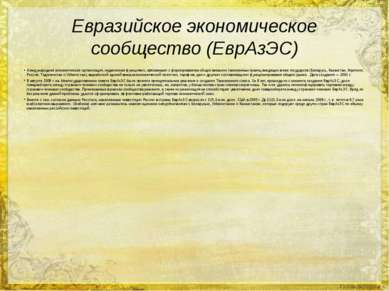 Евразийское экономическое сообщество (ЕврАзЭС) Международная экономическая ор...