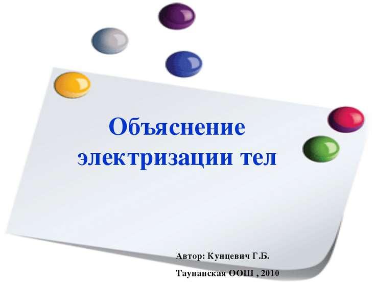 Объяснение электризации тел Автор: Кунцевич Г.Б. Таунанская ООШ , 2010