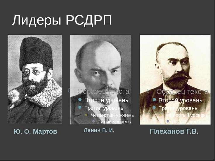 Лидеры РСДРП Ленин В.И. Плеханов Г.В. Ю.О.Мартов