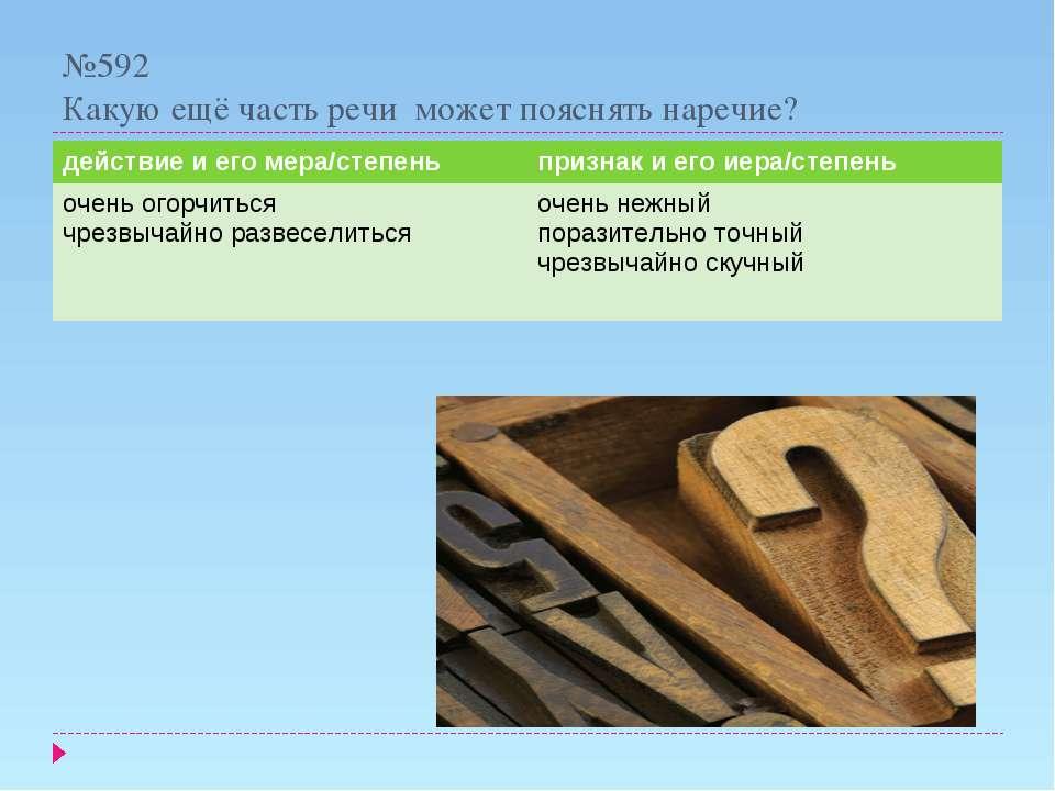 №592 Какую ещё часть речи может пояснять наречие? действие и его мера/степень...