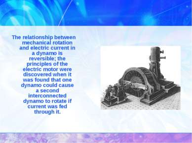 The relationship between mechanical rotation and electric current in a dynamo...